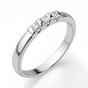 Обручальное кольцо с 3 квадратными бриллиантами - Фото 1