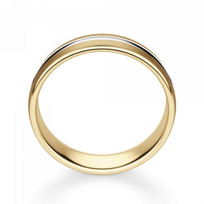Кольцо из комбинированного золота 750 пробы 6 мм - Фото 2