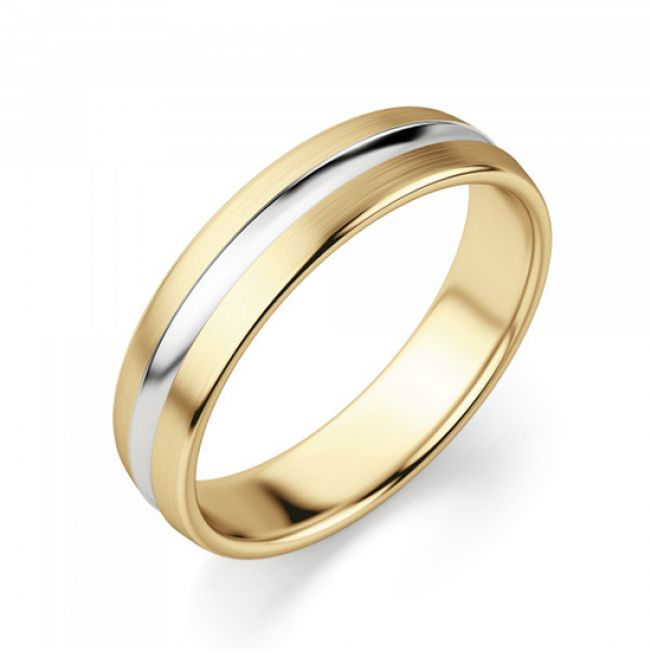 Кольцо из комбинированного золота 750 пробы 6 мм - Фото 1