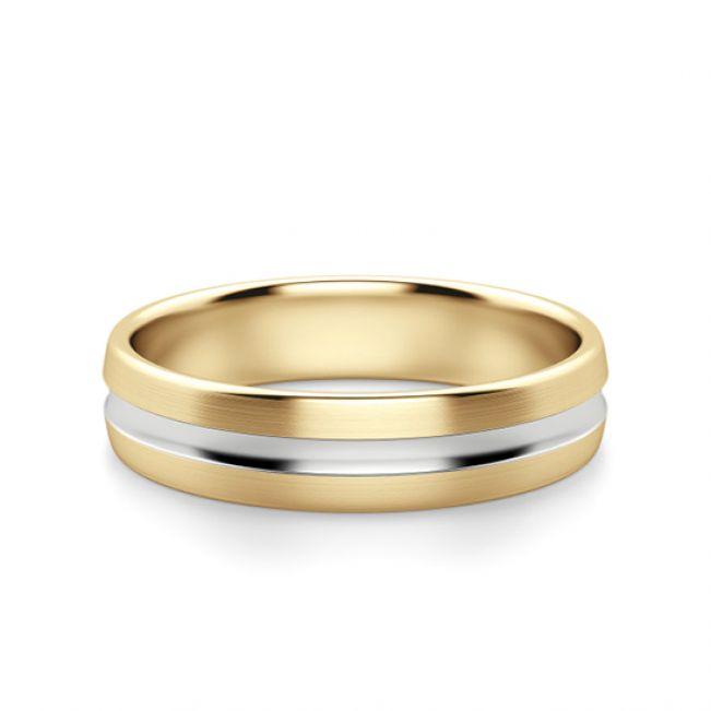 Кольцо из комбинированного золота 750 пробы 6 мм