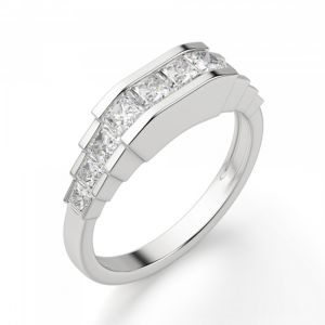 Кольцо ступенчатое с квадратными бриллиантами 1.3 кт - Фото 1
