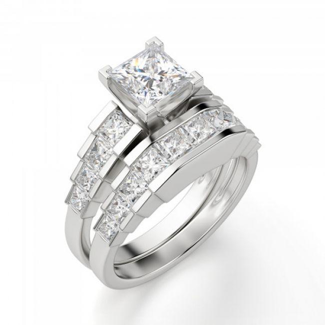 Кольцо ступенчатое с квадратными бриллиантами 1.3 кт - Фото 3