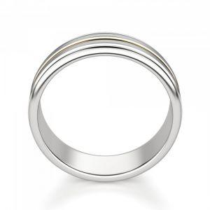 Кольцо из желтого и белого золота 750 пробы 6 мм  - Фото 2