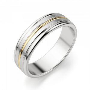 Кольцо из желтого и белого золота 750 пробы 6 мм  - Фото 1