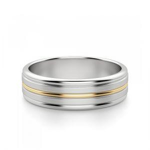 Кольцо из желтого и белого золота 750 пробы 6 мм