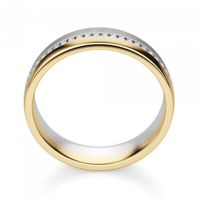 Широкое кольцо из комбинированного золота 750 пробы с бриллиантами - Фото 2