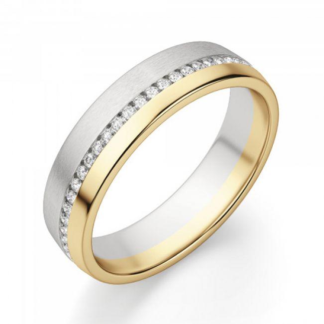 Широкое кольцо из комбинированного золота 750 пробы с бриллиантами - Фото 1