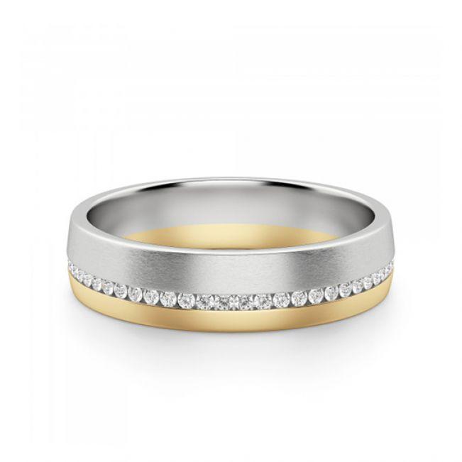 Широкое кольцо из комбинированного золота 750 пробы с бриллиантами