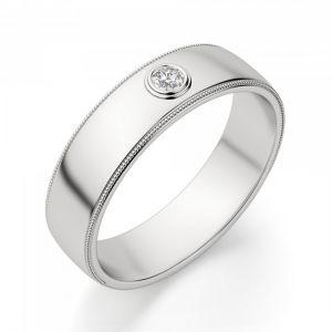 Широкое обручальное кольцо с 1 бриллиантом - Фото 1