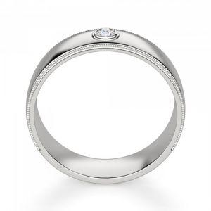 Широкое обручальное кольцо с 1 бриллиантом - Фото 2
