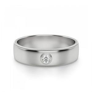 Широкое обручальное кольцо с 1 бриллиантом
