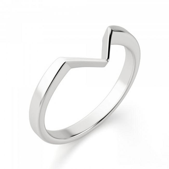 Кольцо из белого золота v формы - Фото 1
