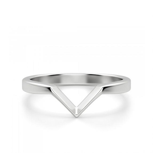 Кольцо из белого золота v формы