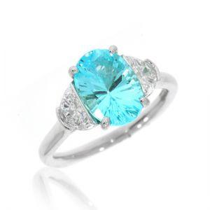 Кольцо с овальным турмалином куприан, бриллиантами и параибой