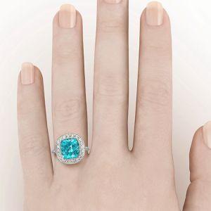 Кольцо с турмалином параиба  - Фото 3