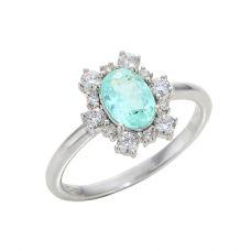Кольцо с турмалином параиба и бриллиантами