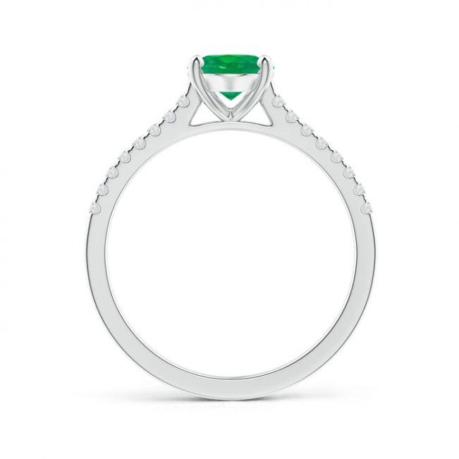 Кольцо с овальным изумрудом на бриллиантовой дорожке - Фото 1