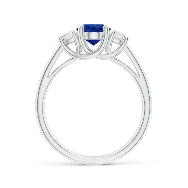Кольцо с овальным сапфиром и бриллиантами полумесяц - Фото 1