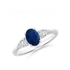 Кольцо с овальным сапфиром и бриллиантами 1.25 карата