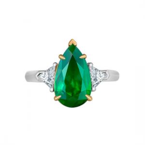Кольцо с изумрудом груша 4 карата и бриллиантами