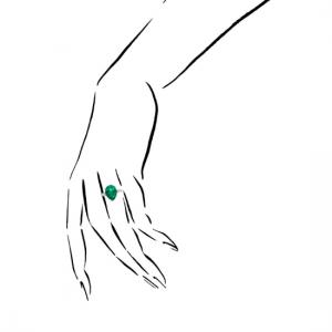 Кольцо с изумрудом груша 4.8 карата и бриллиантами маркиз