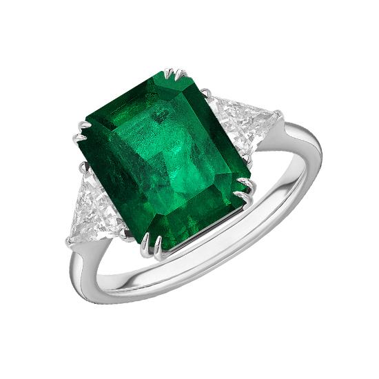 Классическое кольцо с изумрудом 3.31 карата и бриллиантами триллионами, Больше Изображение 1