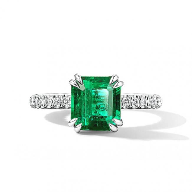 Кольцо с изумрудом 2.67 кт и паве из бриллиантов