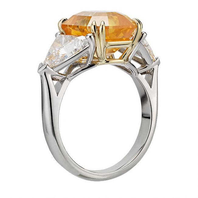 Кольцо с желтым сапфиром 6.56 карата и 2 бриллиантами 0.35 кт  - Фото 1