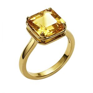 Кольцо с негретым желтым сапфиром 4 карата