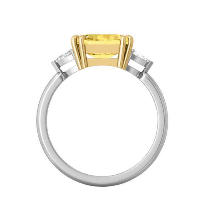 Кольцо с желтым сапфиром эмеральд - Фото 1