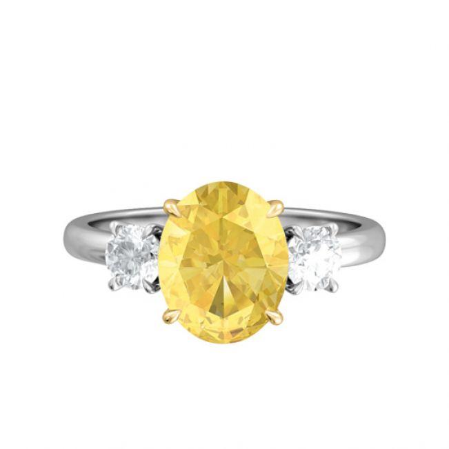 Кольцо с желтым сапфиром овал