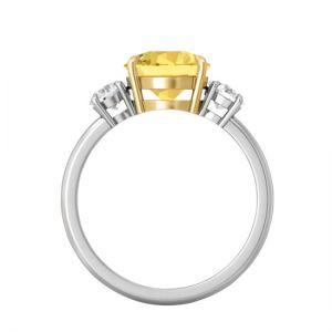 Кольцо с желтым сапфиром овал - Фото 1