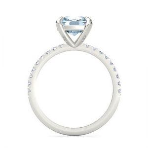 Кольцо с аквамарином и бриллиантами паве - Фото 2