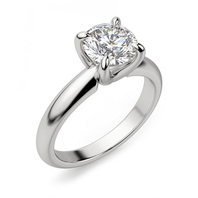 Кольцо с круглым бриллиантом в широкой шинке - Фото 1