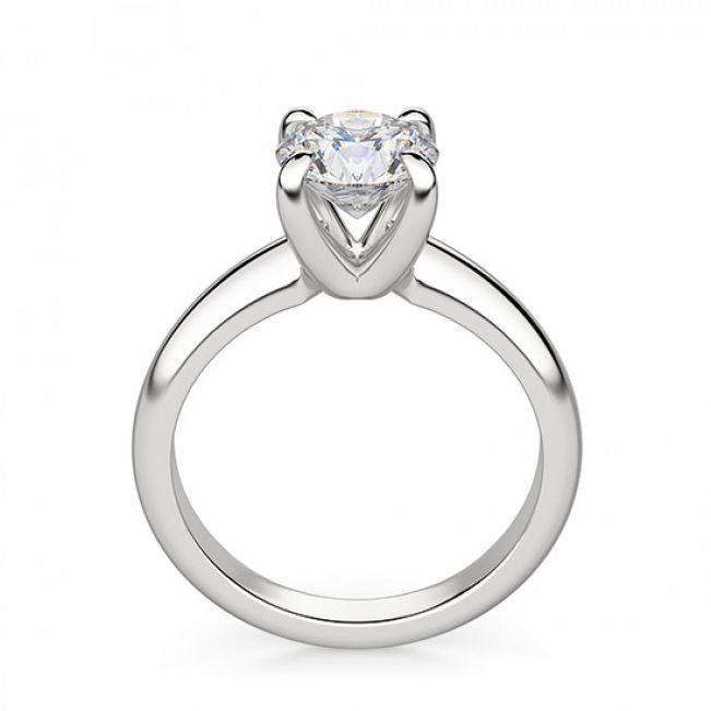 Кольцо с круглым бриллиантом в широкой шинке - Фото 2