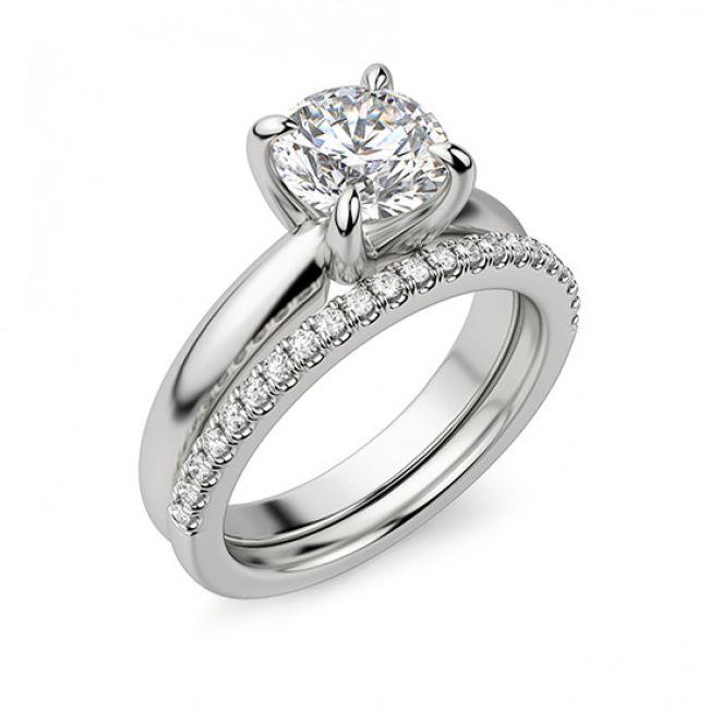 Кольцо с круглым бриллиантом в широкой шинке - Фото 4