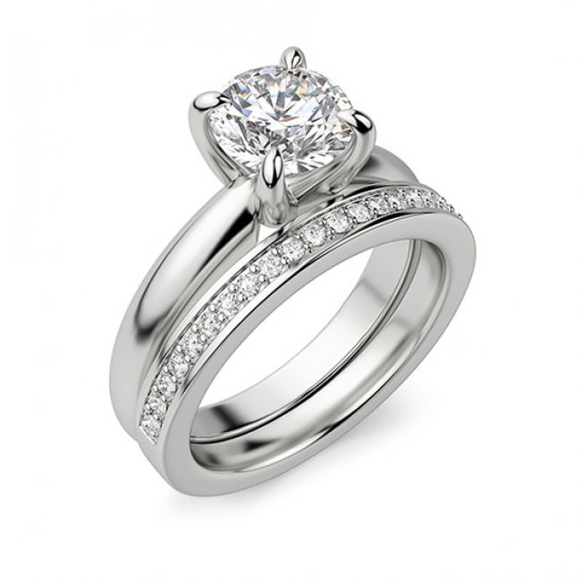 Кольцо с круглым бриллиантом в широкой шинке - Фото 5