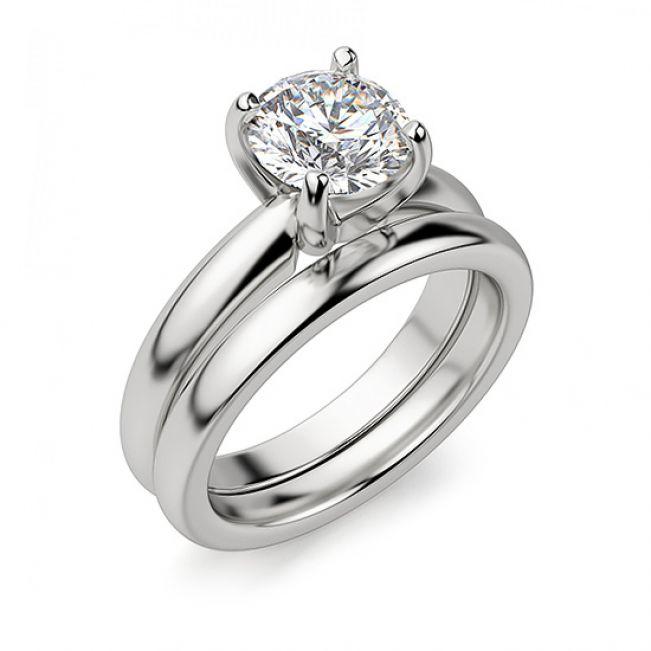 Кольцо с круглым бриллиантом в широкой шинке - Фото 3