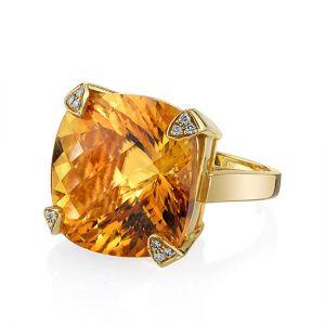 Коктейльное кольцо с цитрином