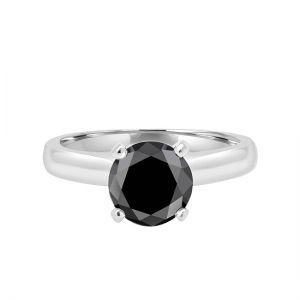 Кольцо солитер с круглым черным бриллиантом