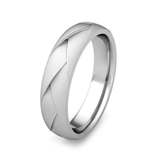 Мужское кольцо из белого золота 750 пробы - Фото 2