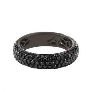 Кольцо с 5 рядами черных бриллиантов
