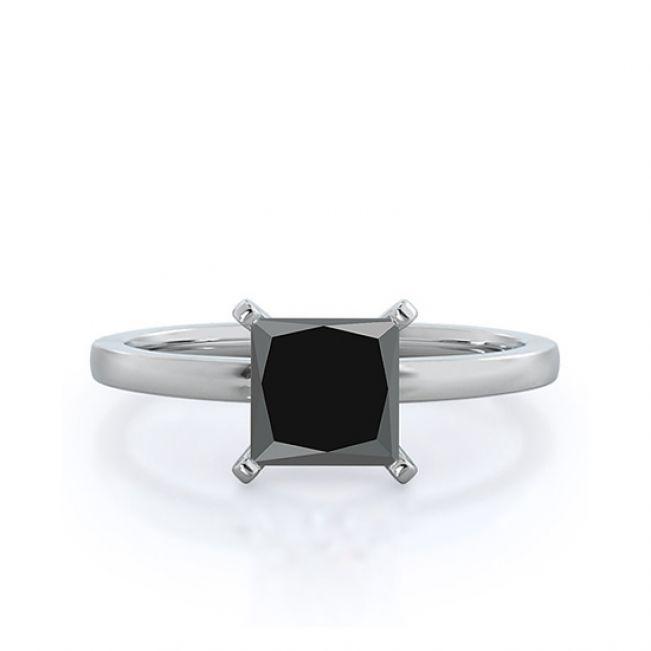 Кольцо солитер с квадратным черным бриллиантом 1 кт