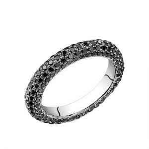 Кольцо с паве из черных бриллиантов