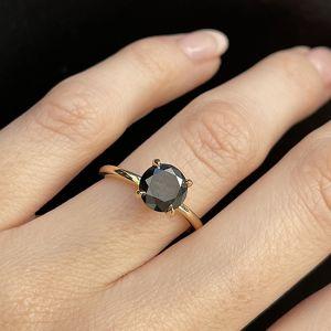 Кольцо с черным бриллиантом 2 карата - Фото 2
