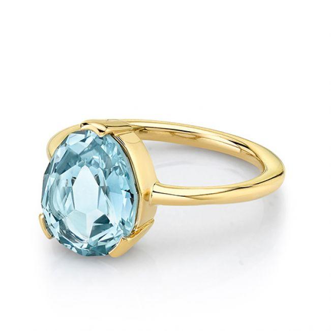 Кольцо с голубым сапфиром - Фото 1
