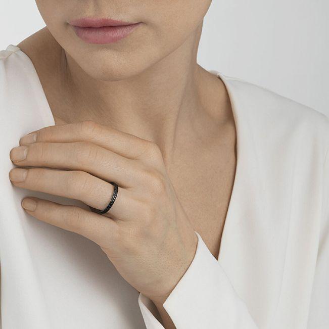 Кольцо с паве из черных бриллиантов - Фото 1