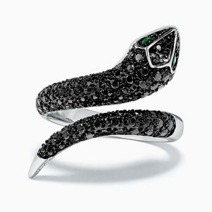 Кольцо с черными бриллиантами и изумрудами