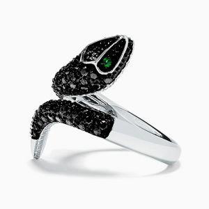 Кольцо с черными бриллиантами и изумрудами - Фото 1