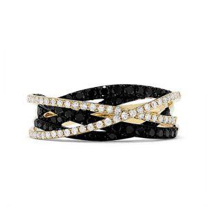 Кольцо с черными и белыми бриллиантами